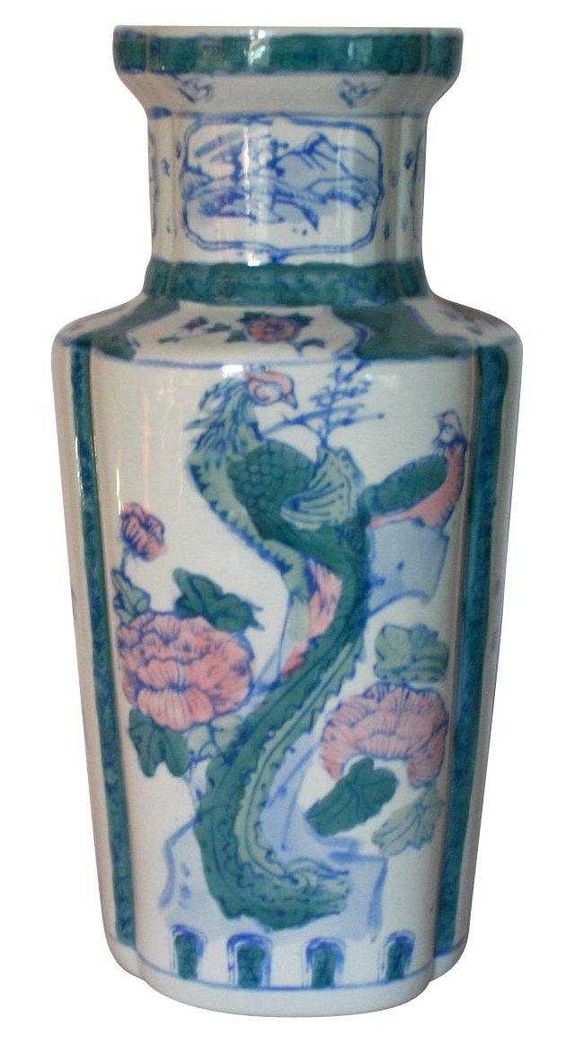 Large Asian Motif Vase