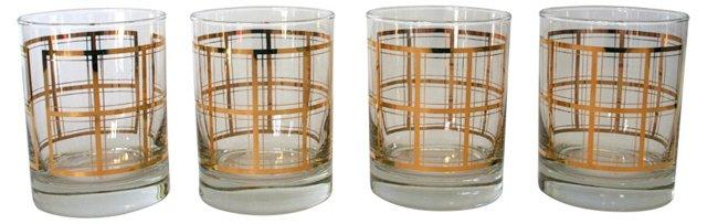 Gold Plaid Cocktail Glasses, Set of 4