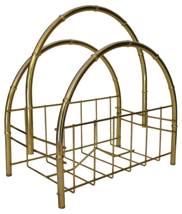 Brass Faux Bamboo Magazine Caddy