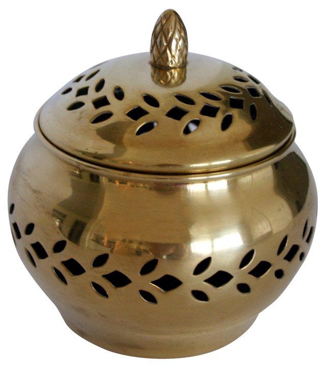 Pierced Brass Lidded Dish