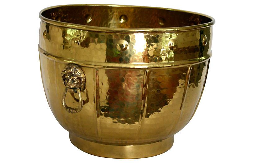 Hammered Brass Planter w/ Lion Handles