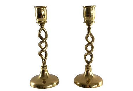 Brass Spiral Candlesticks, Pair