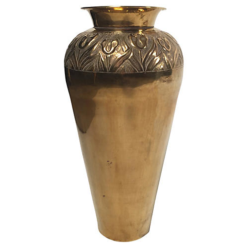 Brass Urn with Floral Detail