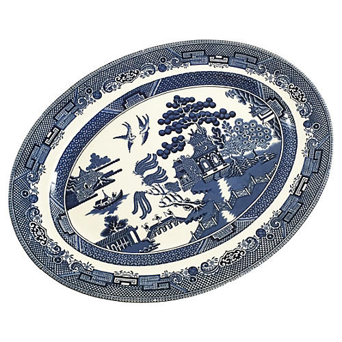 English Blue Willow Platter