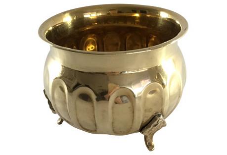 Footed Brass  Cachepot