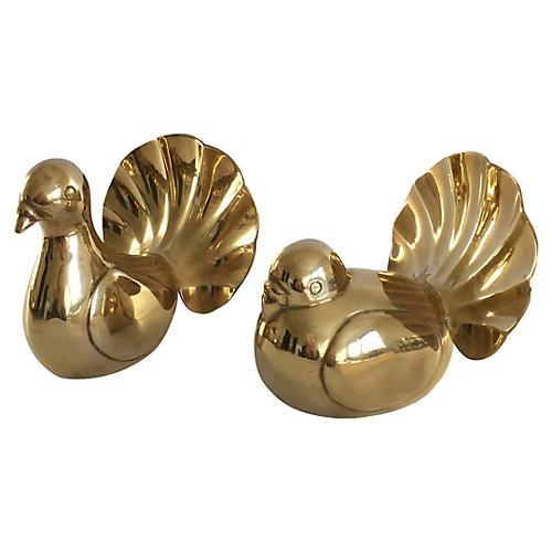 Brass Fan Tail Bird Pair
