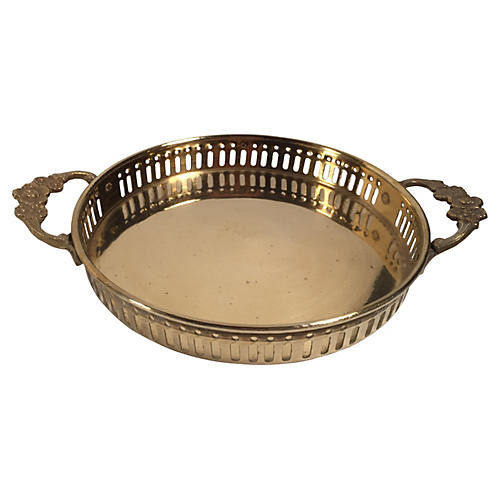 Pierced Brass Tray w/ Rosette Handles