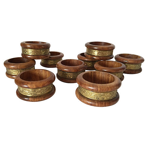 Wood & Brass Napkin Rings, S/10
