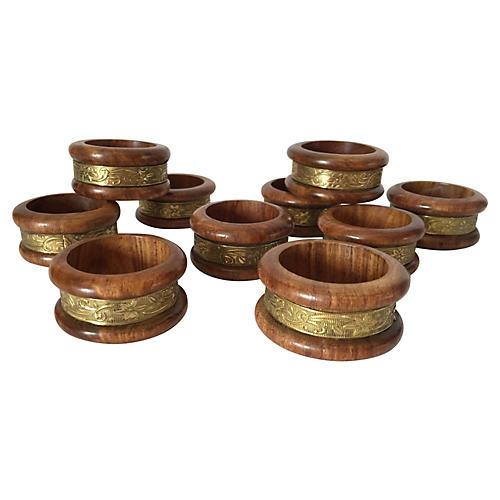 Wood & Brass Napkin Rings, S/10