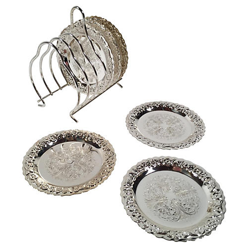 Silver-Plate Mayell Coasters, S/6