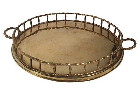 Round Bamboo-Style Brass Tray