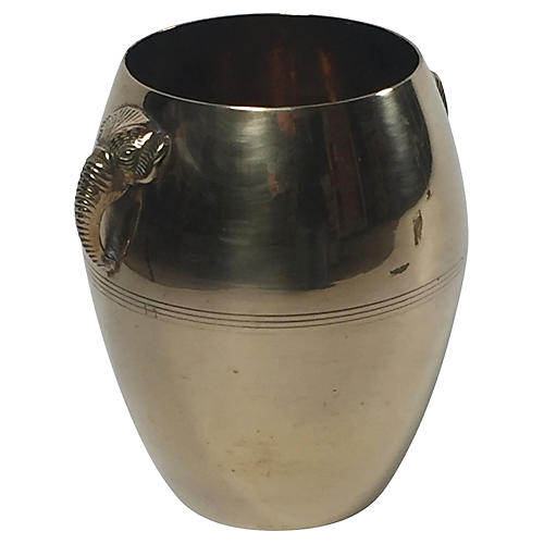 Brass Bucket w/Elephant Handles