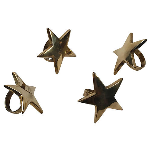 Brass Star Napkin Rings, S/4