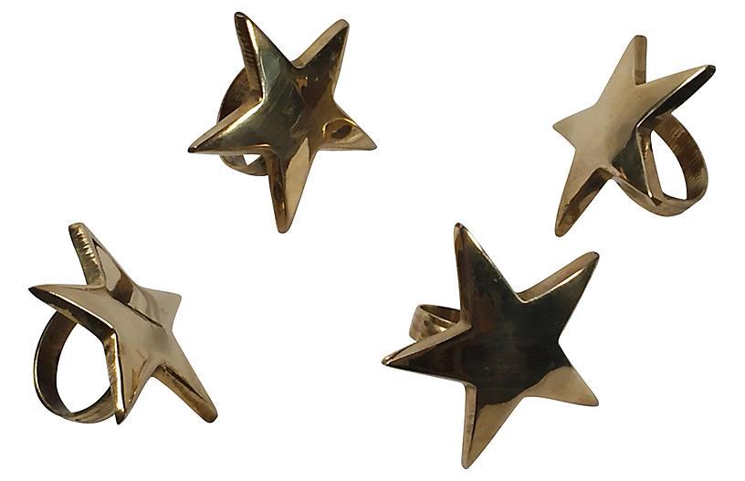 Brass Star Napkin Rings, S/4