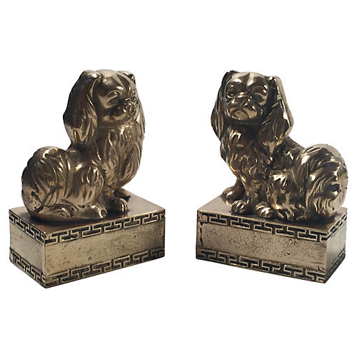 Brass Spaniel Bookends