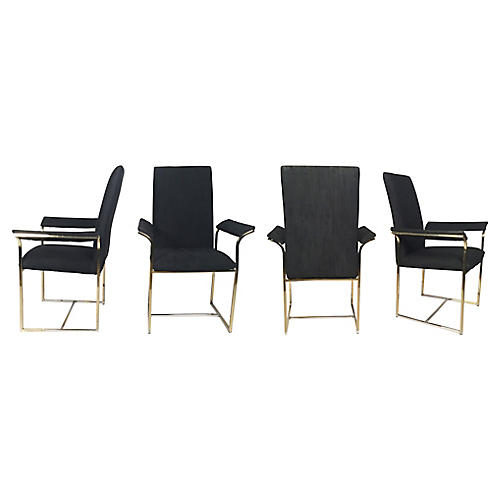 Brass & Black Dining Chairs, S/4