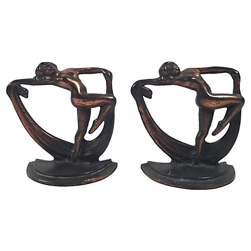 Bronze Art Deco Crescent Bookends, S/2
