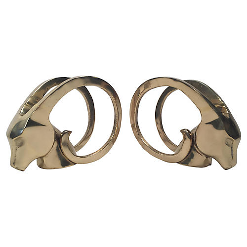 Brass Rams Head Bookends, pair