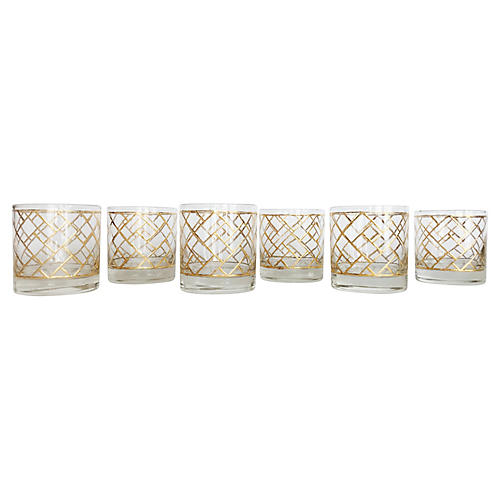 Chinoiserie Cocktail Glasses, S/6
