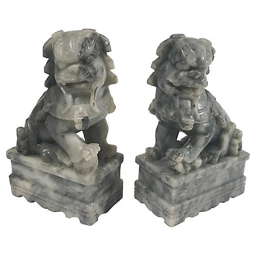 Soapstone Foo Dog Bookends, S/2