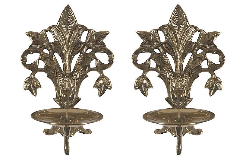 Art Nouveau-Style Brass Sconces, Pair