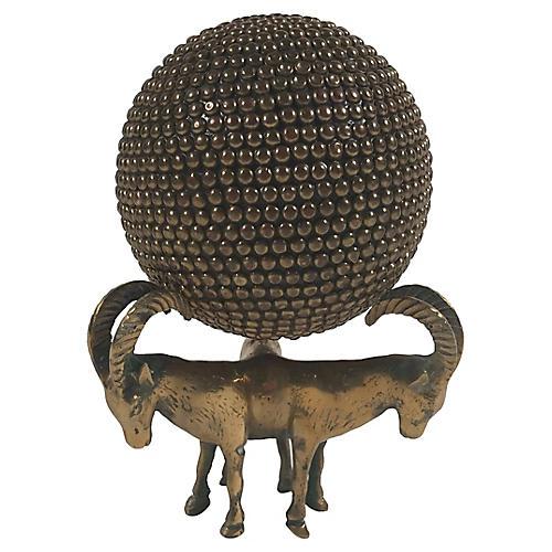 Brass Ram Orb Stand
