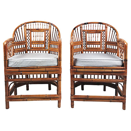 Rattan Brighton Chairs, Pair