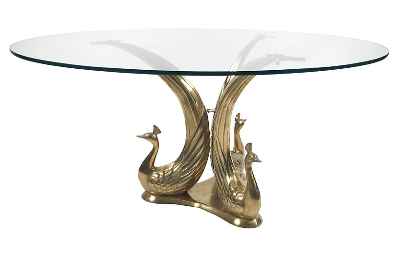 Brass glass peacock coffee table tobe reed brands for Peacock coffee table