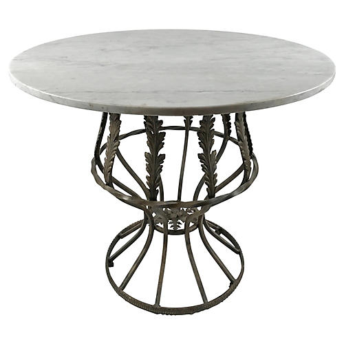 French Marble Bistro Table w/ Iron Base