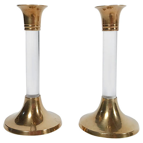 Brass & Lucite Candlesticks, Pair