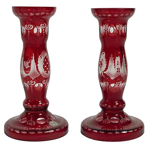 Cranberry Glass Candlesticks, S/2