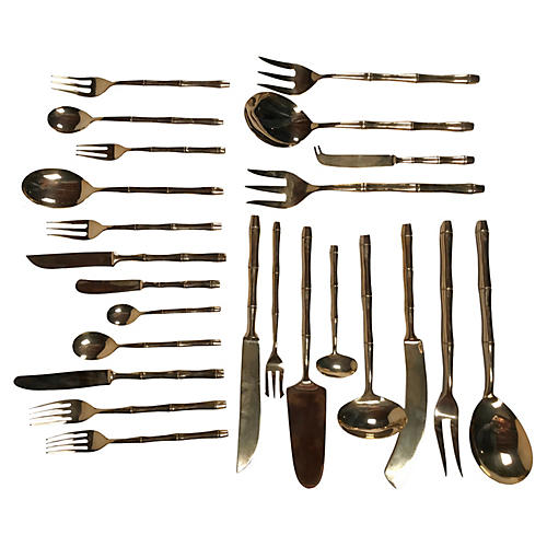 Bamboo-Style Bronze Flatware, 156 Pcs