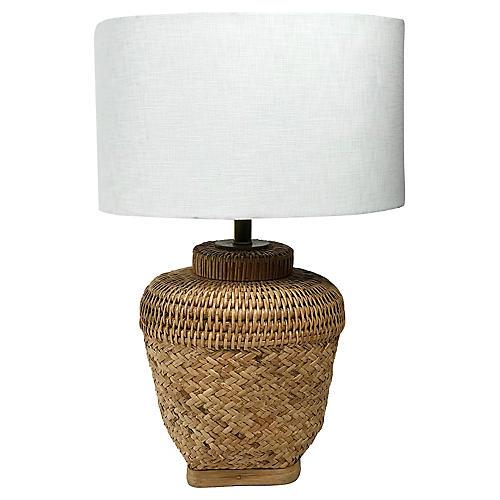 Asian Woven Basket Lamp