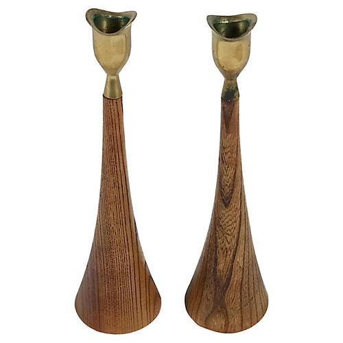 Wood & Brass Candlesticks, S/2