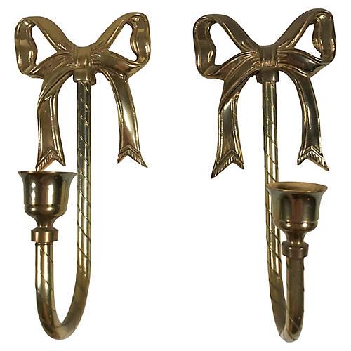 Brass Bow Sconces, Pair