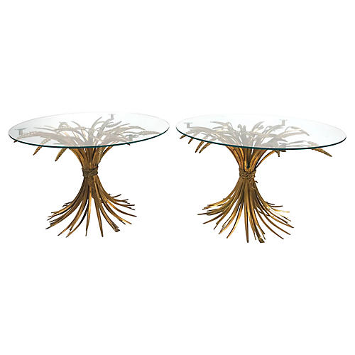 Sheaf-of-Wheat Side Tables, Pair