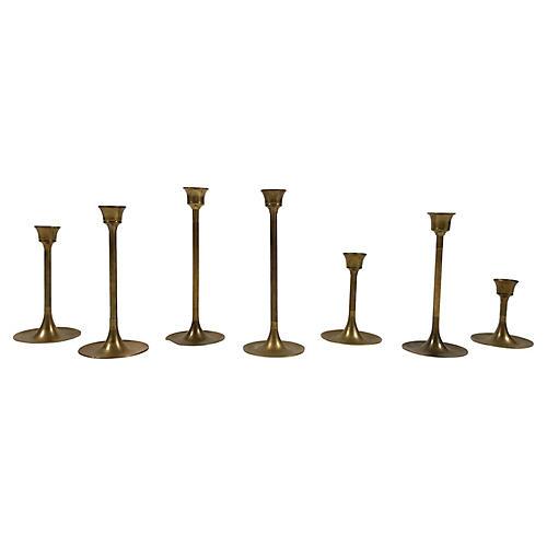 Midcentury Brass Candlesticks, S/7