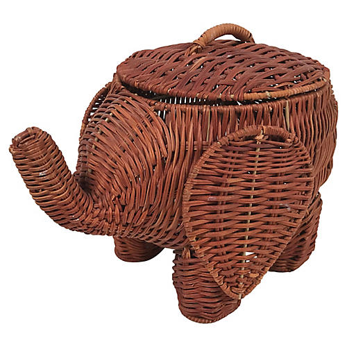 Lidded Wicker Elephant Basket