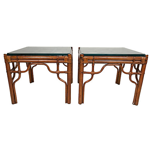 Rattan and Glass Side Tables, Pair