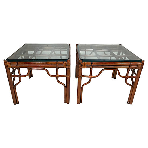 Rattan & Glass Side Tables, Pair