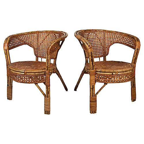 Caned Rattan Chairs, Pair
