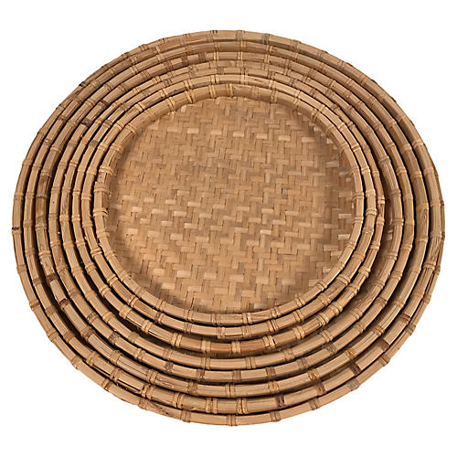 Rattan Nesting Trays, S/8