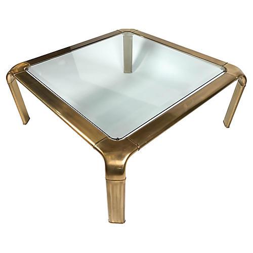 John Widdicomb Square Brass Coffee Table