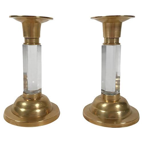 Brass & Lucite Candleholders, Pair