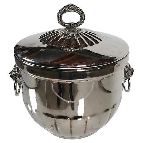 Silver Ice Bucket w/ Lion Heads