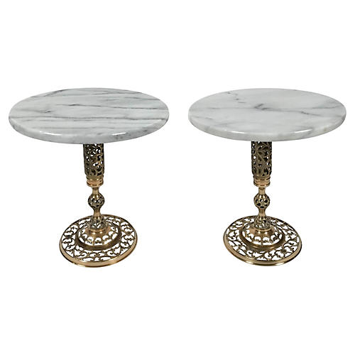 Marble and Brass Filigree Tables, Pair