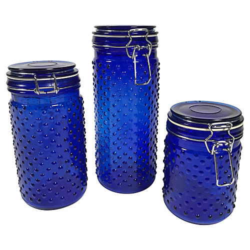 Cobalt Hobnail Canisters, S/3