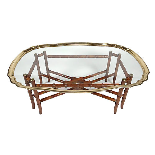 Baker Chinoiserie Brass Coffee Table