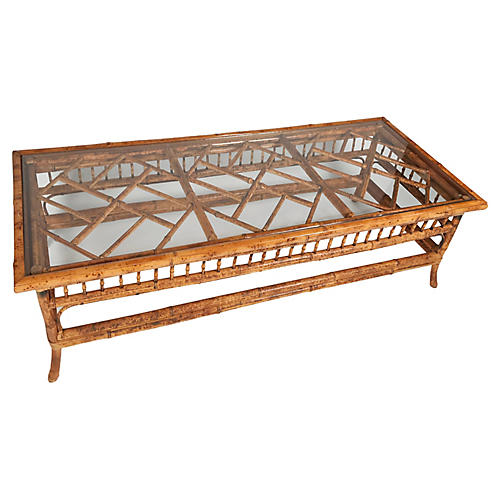 Burnt Bamboo Chippendale Coffee Table