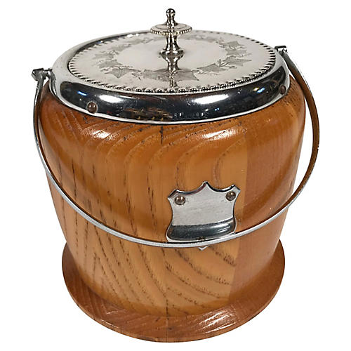 English Wood & Silver Biscuit Barrel